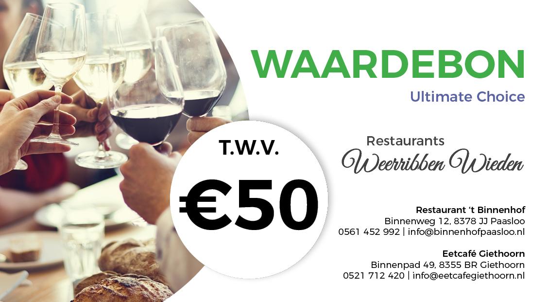 Waardebon Restaurant Eetcafe Giethoorn Ultimate Choice